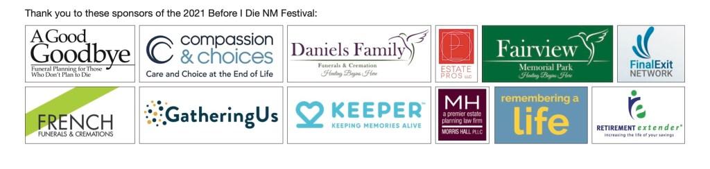 2021 Before I Die Festival Sponsor Logos
