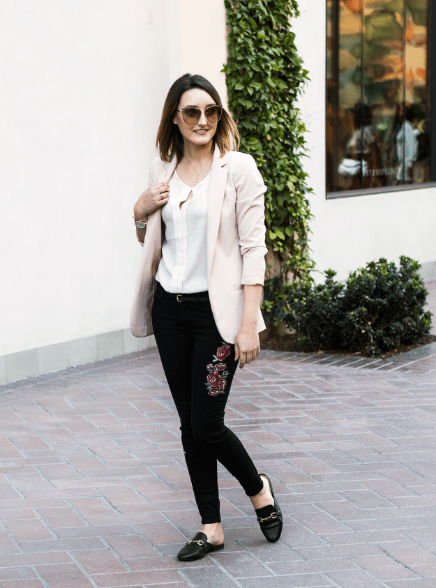 H&M Blush Blazer and JustFab Embroidered Jeans Outfit | A Good Hue