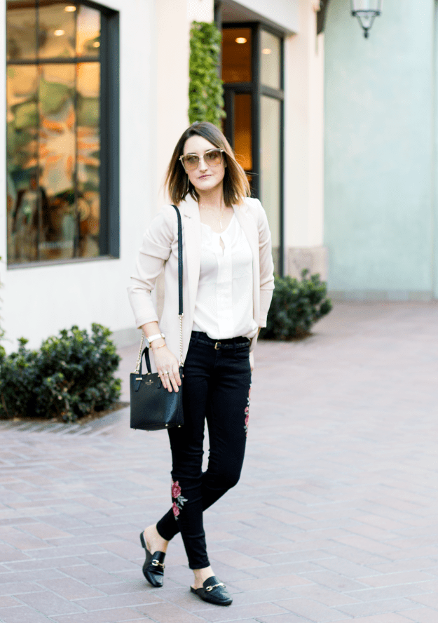 Blush Blazer and Embroidered Jeans Outfit | A Good Hue