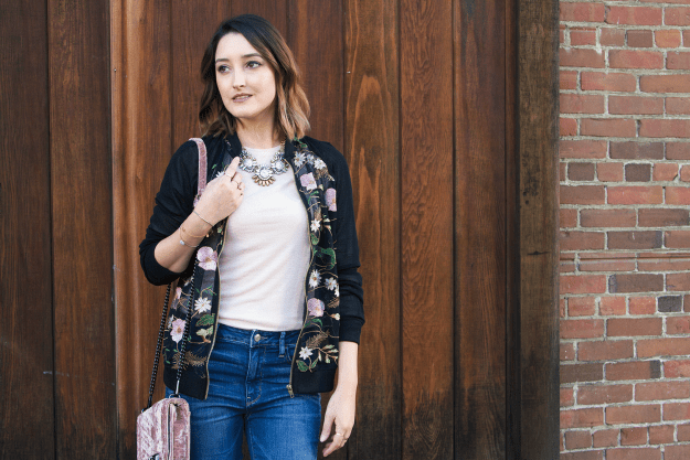 Affordable Casual Style: JustFab Embroidered Floral Jacket | A Good Hue