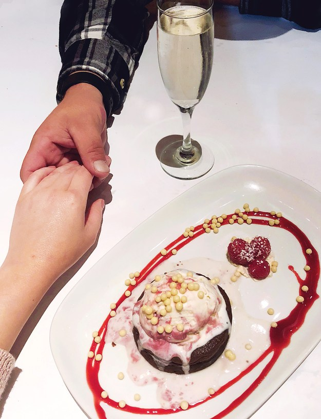 Date Night at Brio Tuscan Grille, chocolate molten cake with raspberry gelato | A Good Hue