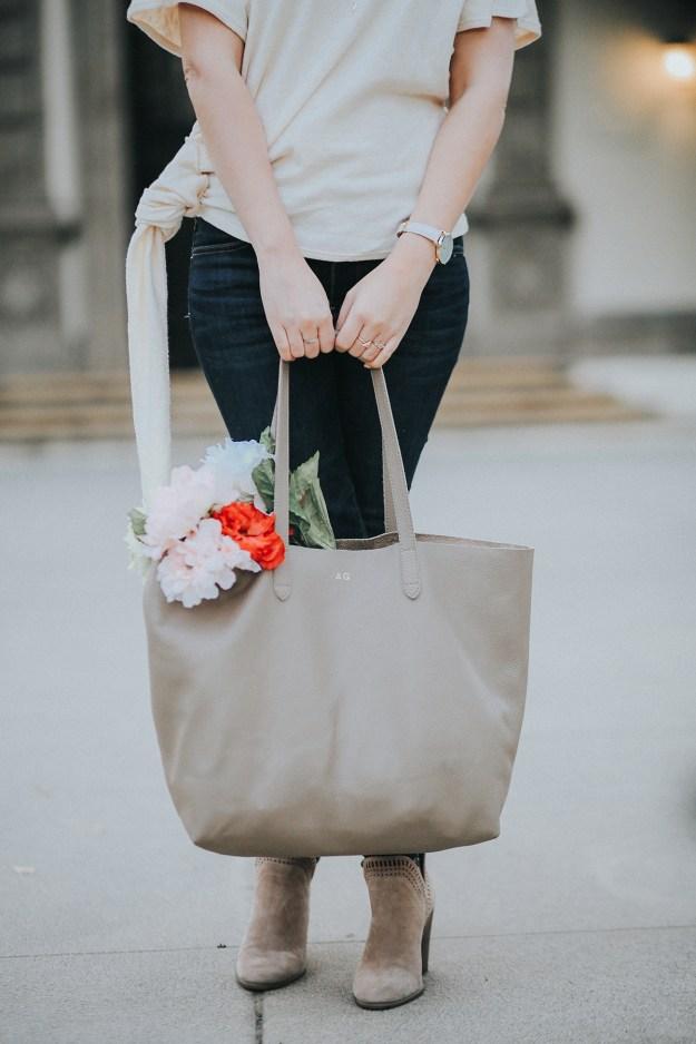 Spring Bag Essentials: Cuyana Monogram Tote | A Good Hue
