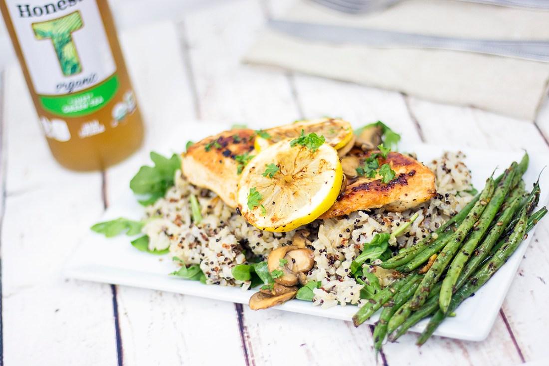 Recipe File: Healthy Organic Chicken with Lemon Mushroom Sauce and Honest Tea   A Good Hue