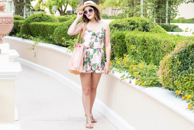 Vacation Style: Flamingo Print Romper | A Good Hue