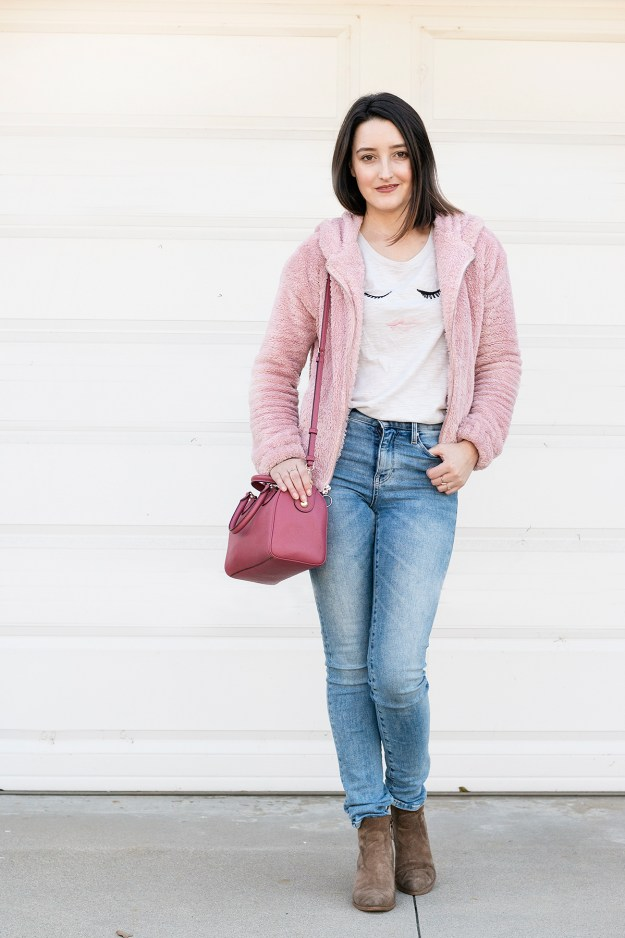 Currently Obsessed: LC Lauren Conrad Pink Teddy Jacket | A Good Hue