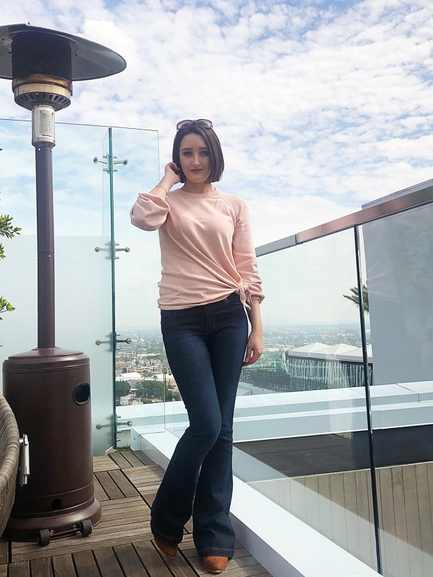 Peach Sweater & Flare Jeans   A Good Hue
