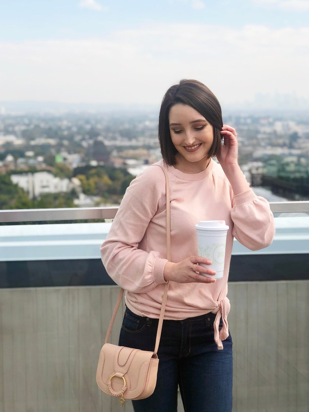 Peach Sweater & Flare Jeans | A Good Hue