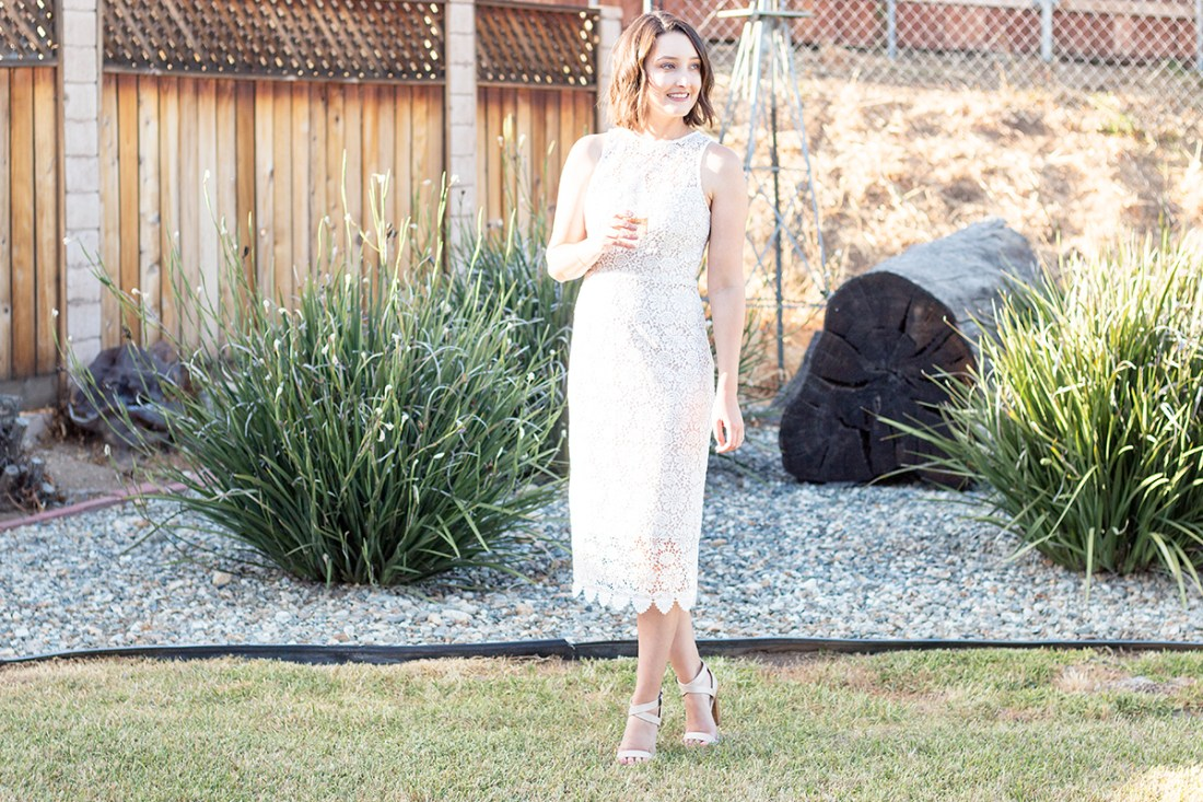 Wearing BHLDN Belden Dress at my Rosé and Bubbly Bridal Shower | A Good Hue