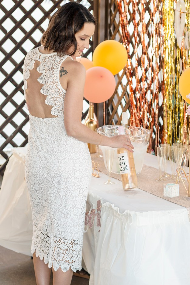 BHLDN Belden Dress at my Rosé and Bubbly Bridal Shower | A Good Hue