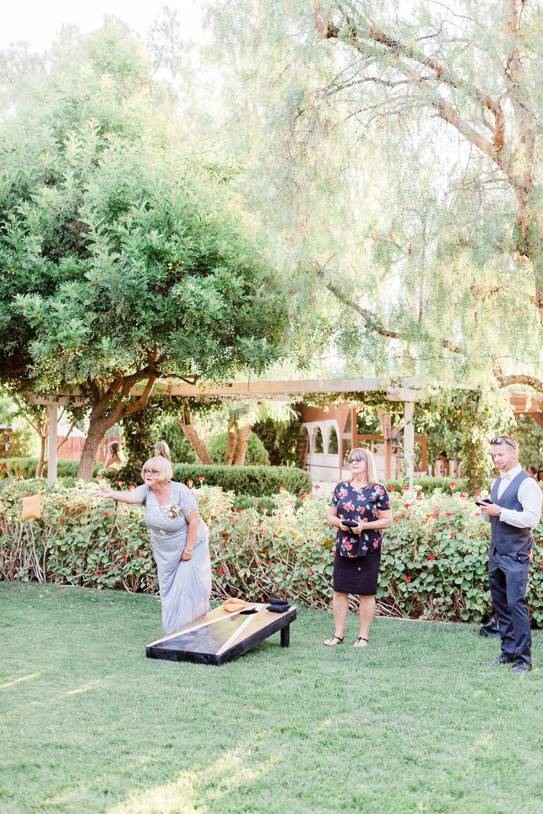 Custom Cornhole Lawn Games at Wedding | A Good Hue
