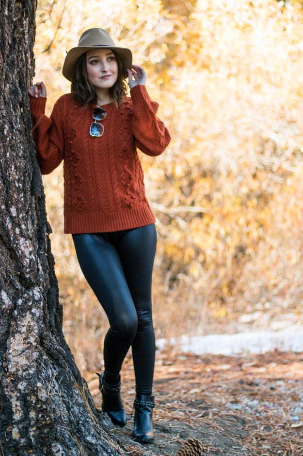 Sweater with Faux Leather Leggings | A Good Hue