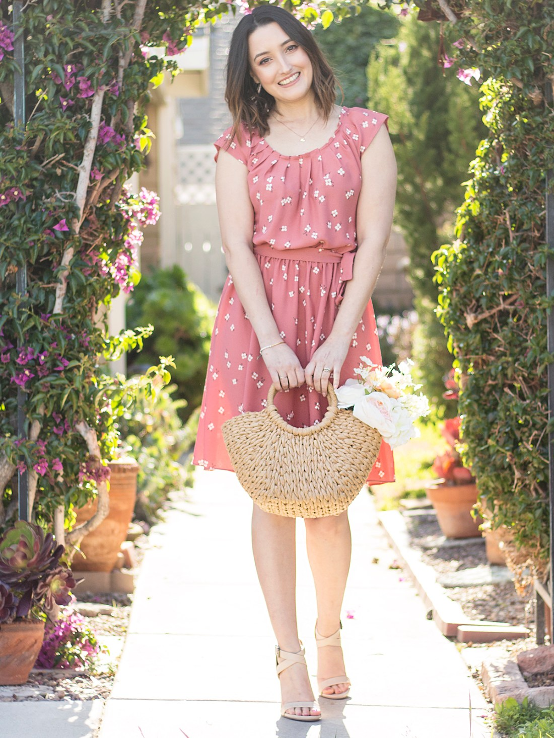 LC Lauren Conrad Pleat Pink Floral Dress | A Good Hye
