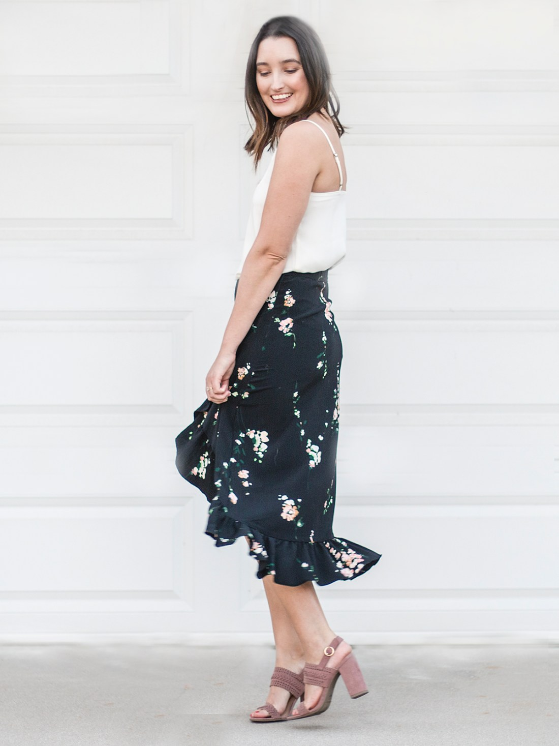 LC Lauren Conrad for Kohl's Floral Midi Wrap Skirt | A Good Hue
