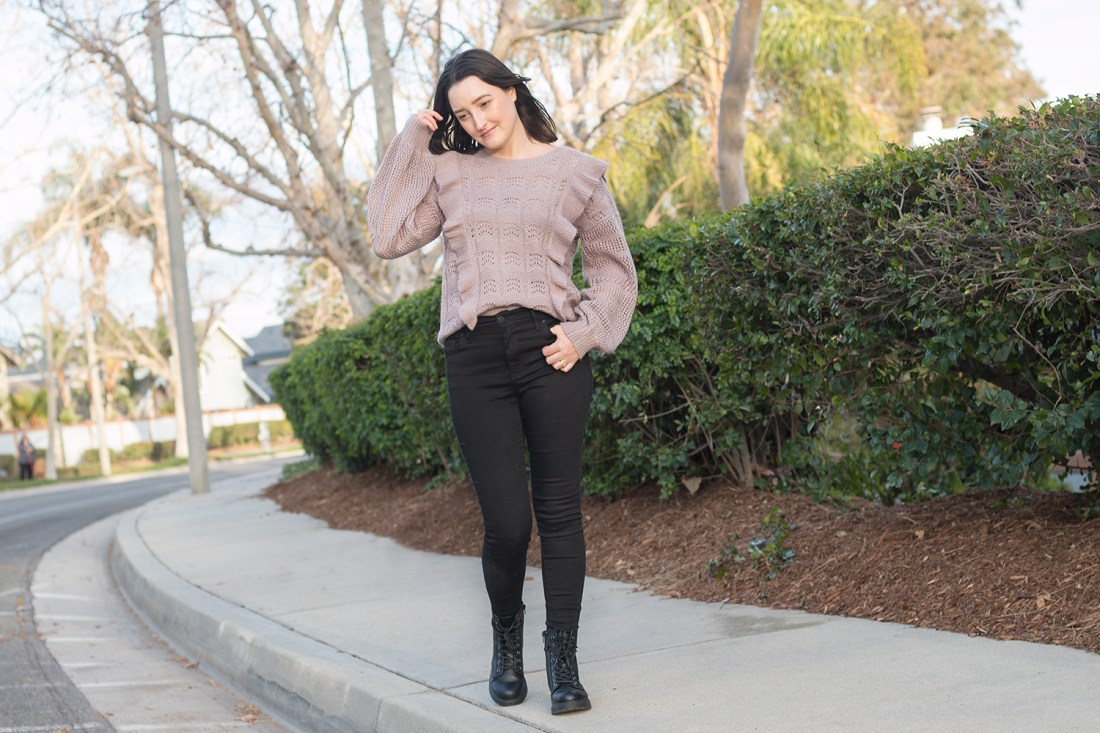 Winter Style: Ruffled Sweater & Combat Boots | A Good Hue