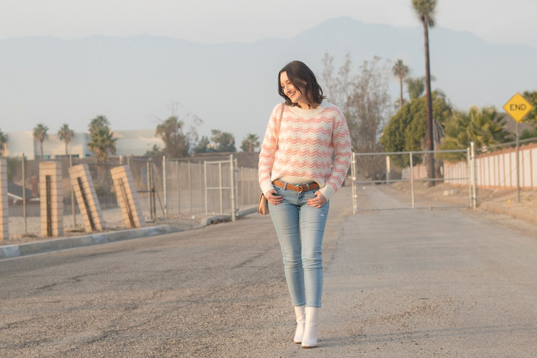Pink Striped Sweater Outfit | A Good Hue