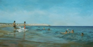 JACOB GRODZINSKI, Catalan Beach 2015, oil on canvas, 36 x 72 inches