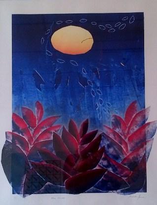"""""""Blue Garden"""" 2014, mono print, 34 x 27 inches"""