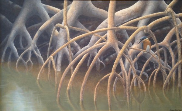 """In the Mangroves"" 2010 acrylic on masonite 24 x 37 inches"