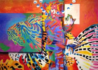 "John Pennoyer, ""Underwater Exposition"" 2012, acrylic on canvas, 36 x 48 inches"
