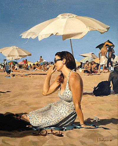 "Jacob Grodzinski, ""Girl on Beach"" 2012, oil on canvas, 30 x 26 inches"
