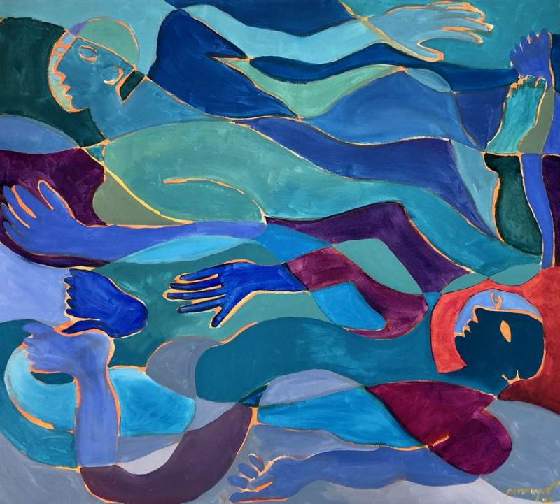 JOHN PENNOYER, Swimming 2020, acrylic on canvas, 36 x 40 inches