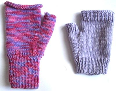 mitaines tricot rose mauve