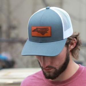 Leather Grey Patch Engraved Trucker Hat One Legging it Around got shamare?