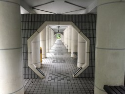 Entrance to the Zen garden looks like a space station corridor