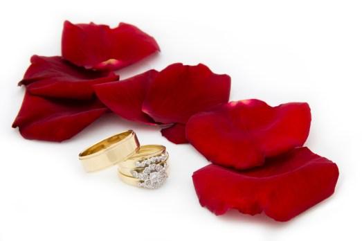 Two Wedding Rings Beside Rose Petals