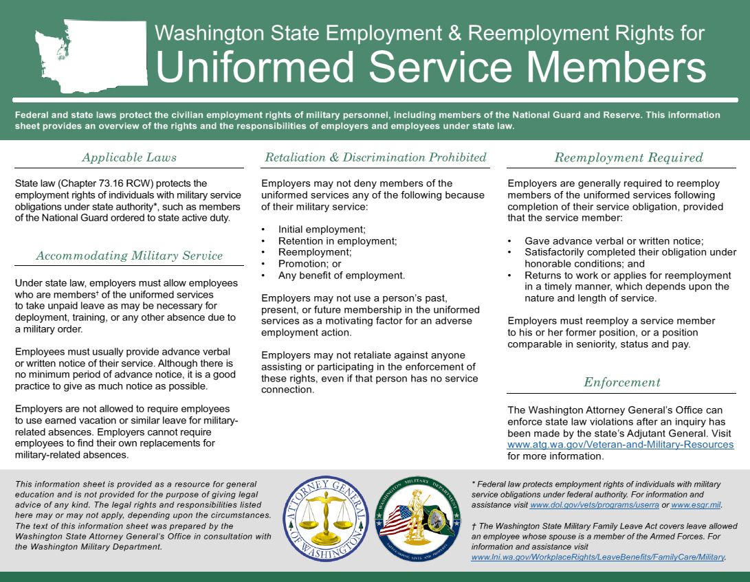 This Information Sheet Provides An Overview Of The Rights And  Responsibilities Of Employers And Employees When It Comes To Accommodating  Military Service