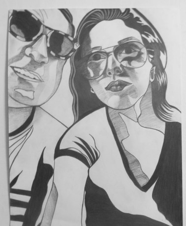Me and Dad, Selfie with Sunglasses, Graphite on paper, 16 in x 20 in AnneMarie Graham 2014