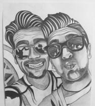 Ignazio Boschetto and Piero Barone, Il Volo, Selfie with Sunglasses and Funny Faces, Graphite on paper, 16 in x 20 in, AnneMarie Graham 2014