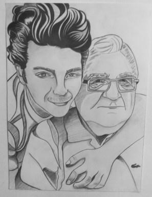 Gianluca Ginoble and Nonno Ernesto, Graphite on paper, 16 in x 20 in, AnneMarie Graham 2014