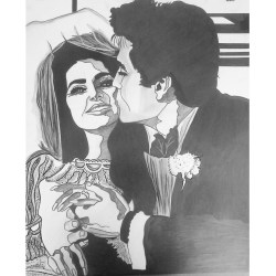 Elvis & Priscilla Presley, Wedding, Graphite and ink on paper, AnneMarie Graham 2015