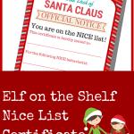 Elf On The Shelf Nice List Certificate Printable A Grande Life