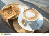 latte and toast
