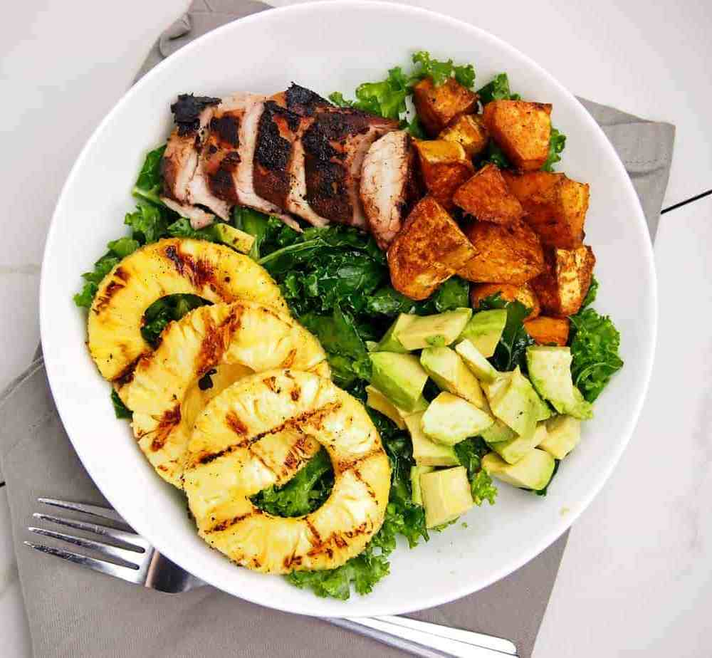Grilled Pineapple Jerk Pork Bowls with Kale and Avocado