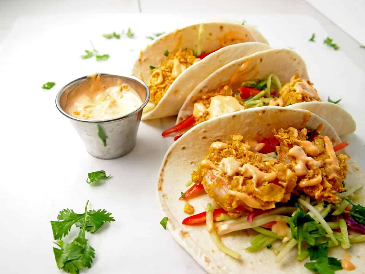 Healthier Bang Bang Shrimp Tacos