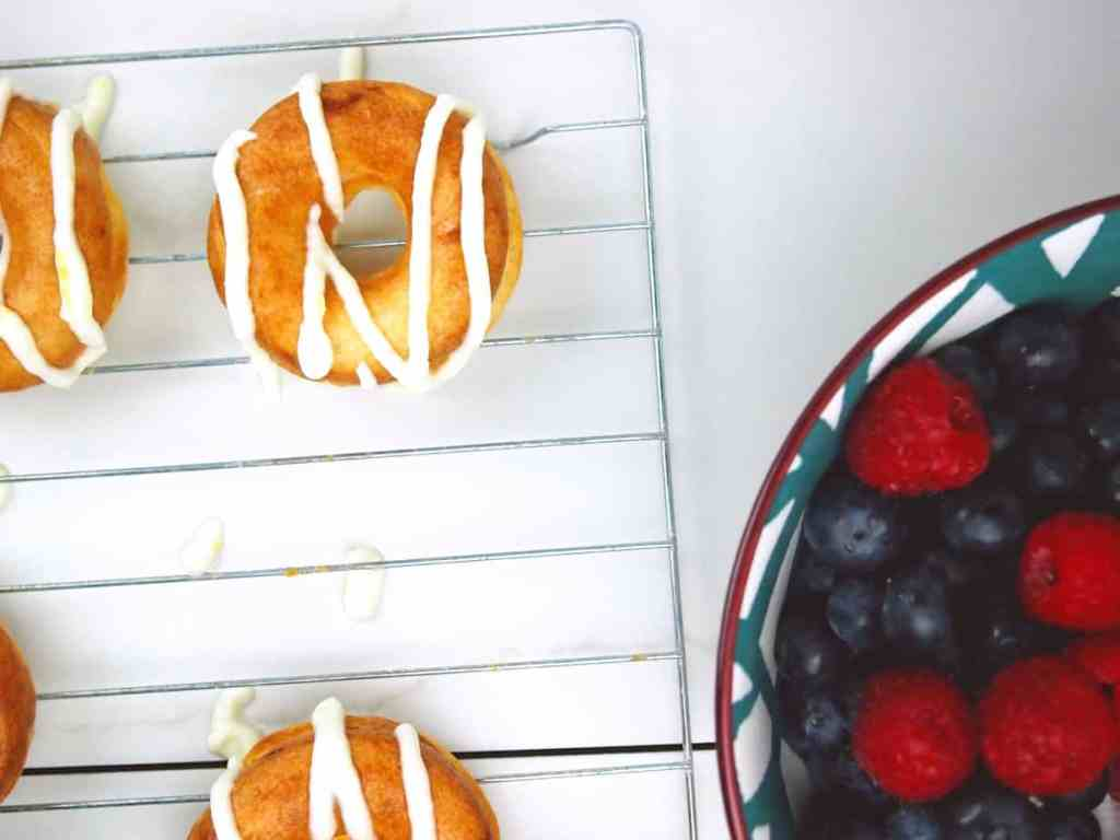 Lemon Mascarpone Drizzled Doughnuts