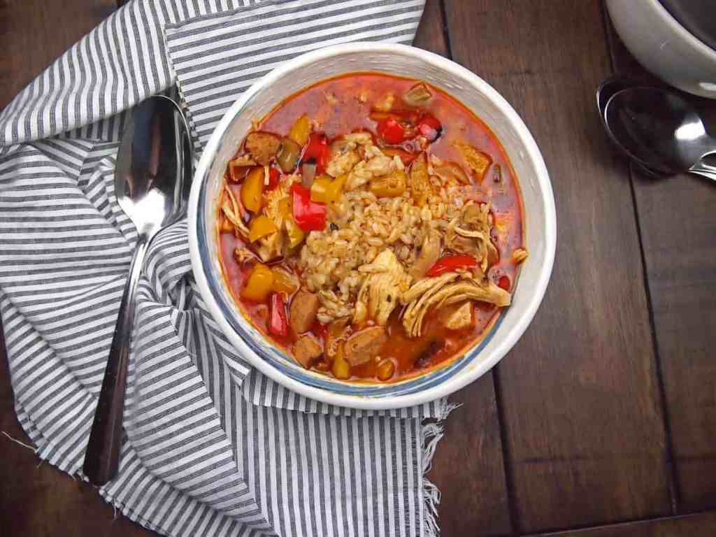 chicken gumbo with sausage and bell peppers