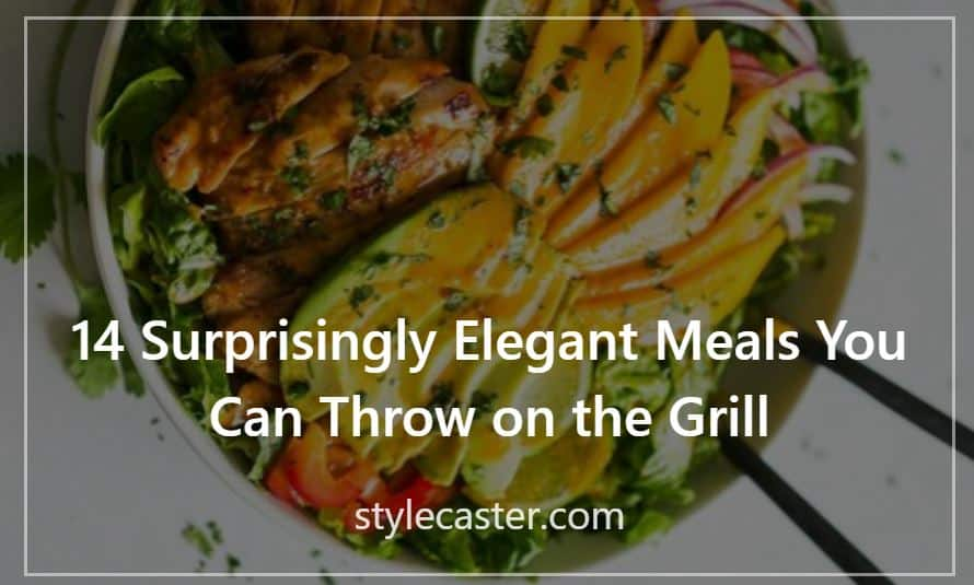 14 Surprisingly Elegant Meals You Can Throw on the Grill; stylecaster; Press Contribution by Melissa Macher; background image of grilled chicken salad