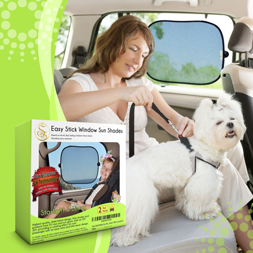 #6.Easy Stick Window Sun Shade. 2 PACK. Bonus EXTRA SUCTION CUPS INCLUDED. The car shade provides an SPF 30. Easy To Stick And Remove Sun Shade For Car Window, Calming Kids & Pets