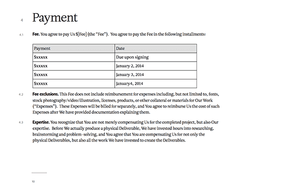 free payment contract template