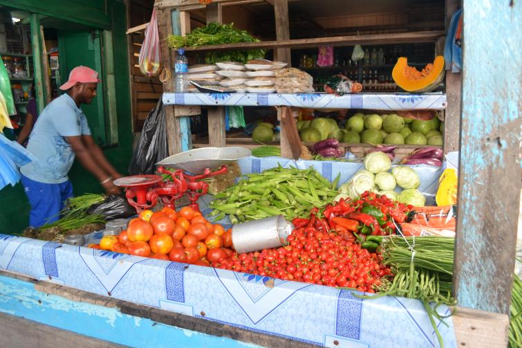 Fresh crops for sale at Mon Repos Market