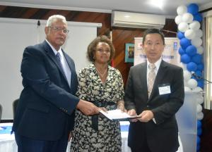 Agriculture Minister Noel Holder, UN Resident Coordinator Khadija Musa and Japanese Ambassador H.E. Mitsuhiko Okada during the DRRM UNDP Launch