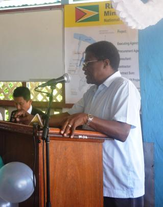CEO (ag) for NDIA Mr. Freddy Flatts during the handing over ceremony for the East Demerara Water Conservancy Project.