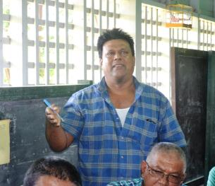 Seerpaul Hemraj, a rice farmer while offering his thoughts on aerial spraying