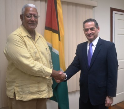 Agriculture Minister, Mr. Noel Holder during his meeting with Chilean Ambassador to Guyana, HE Patricio Becker