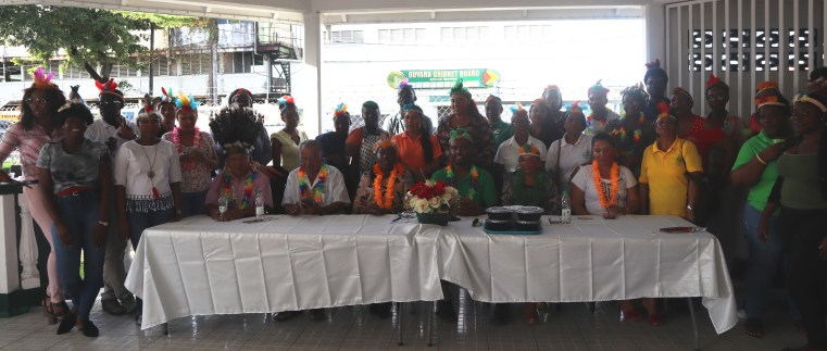 Minister VAlerie Adams-Yearwood is pictured with some of the Ministry's staff and other special invities
