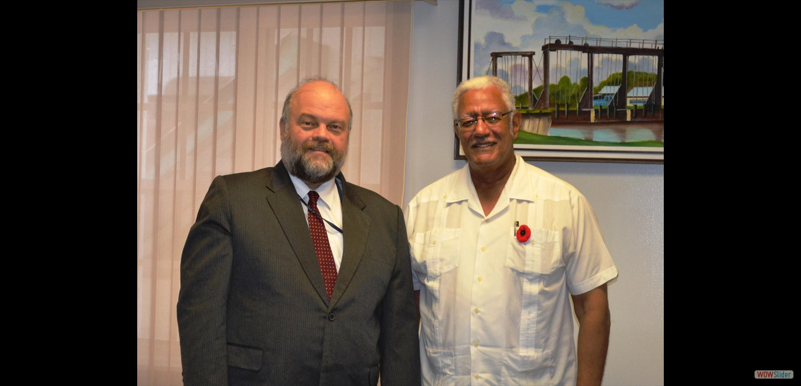 Minister of Agriculture Hon. Noel  Holder wit the newly appointed Ambassador to Guyana Mr. Perry Halloway